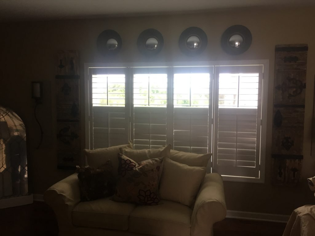 """Graber 3"""" Wood Shutters with Divider 5"""" Louvers in Lakeville"""